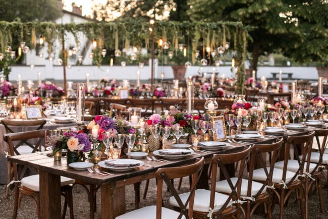 Table setting at luxury lebanese wedding in Tuscany