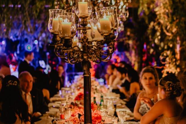 Bronze chandeliers to decor the wedding