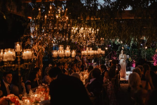 Hanging chandeliers and candelabras for a luxury wedding in Tuscany
