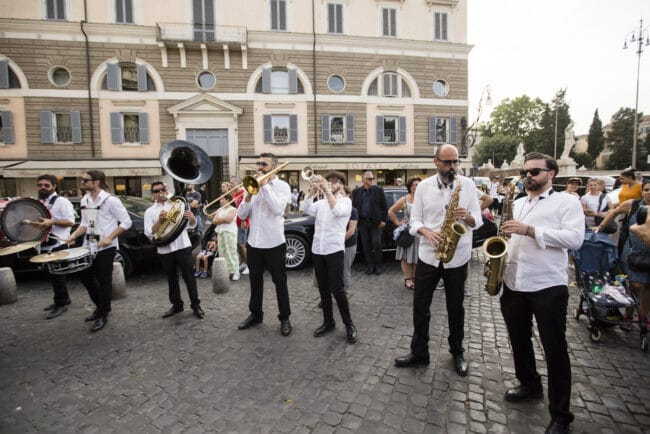 Marching band at the ceremony exit in Rome