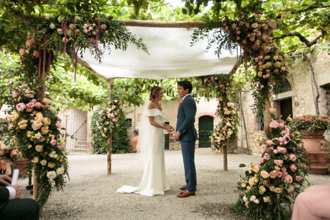 Newlyweds exchange antique jewish wedding ring