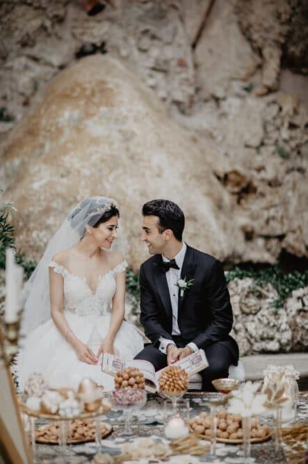 Newlyweds Persian sugar ceremony