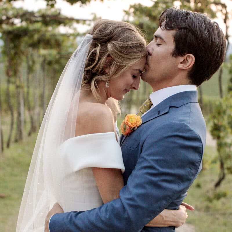 Orthodox jewish wedding newlyweds are kissing