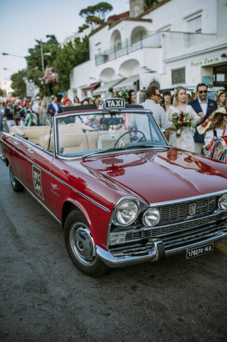 Red taxi in Capri for wedding
