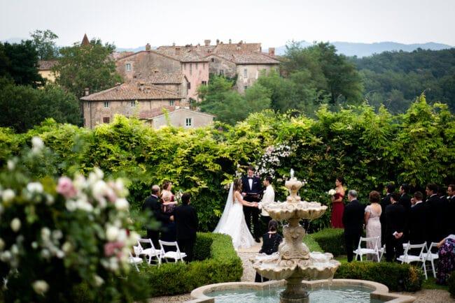 romantic ceremony garden fountain
