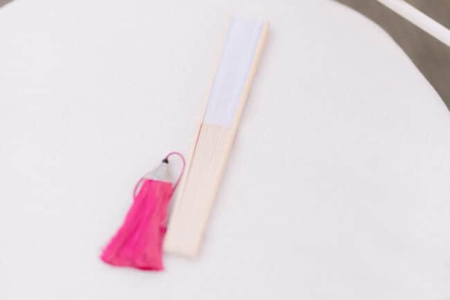 Pink tassel for a wedding fan
