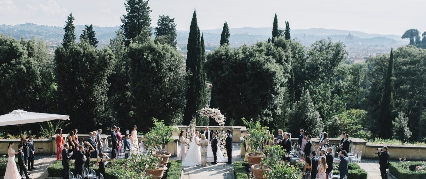 Romantic wedding garden of hotel Florence
