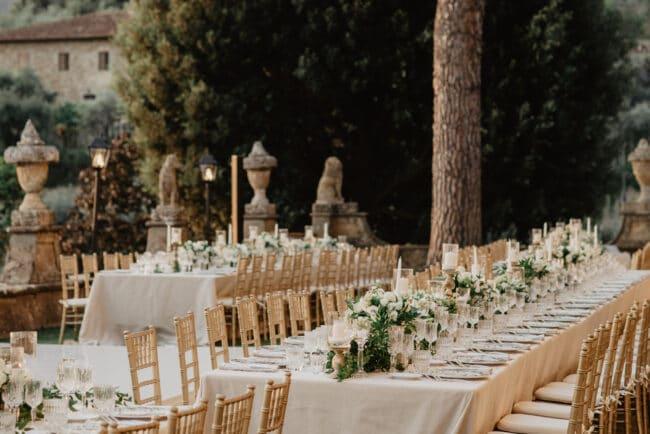 romantic tables setting villa florence