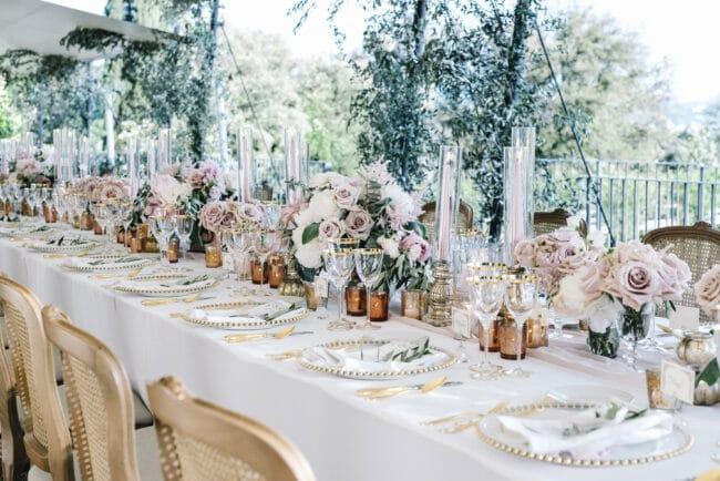 Elegant wedding table setting hotel Florence
