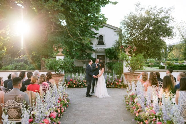 Romantic outdoor ceremony setting in Italy