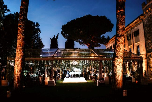 wedding party with marquee in a romantic venue in tuscany