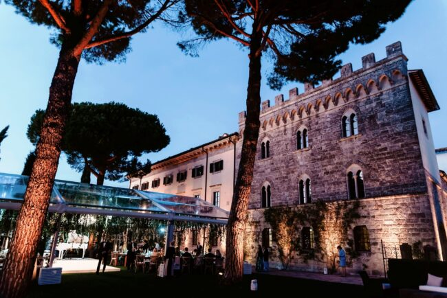 marquee for wedding in tuscany by night