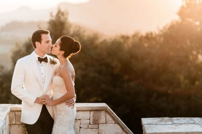 romantic wedding portrait at the sunset in tuscany