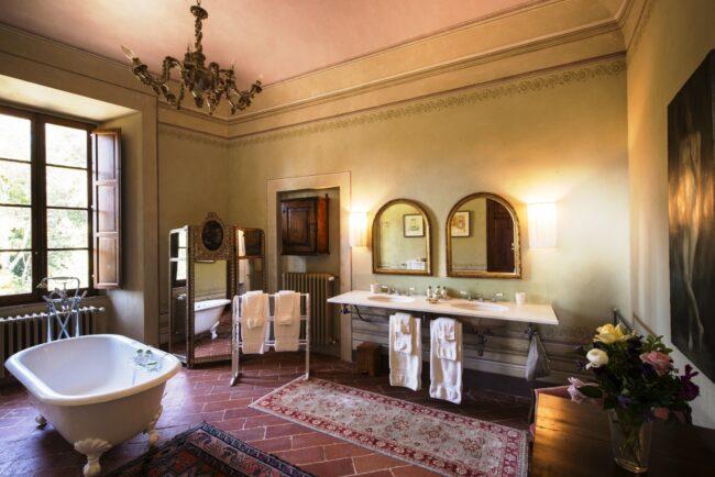elegant suite of a romantic wedding villa tuscany