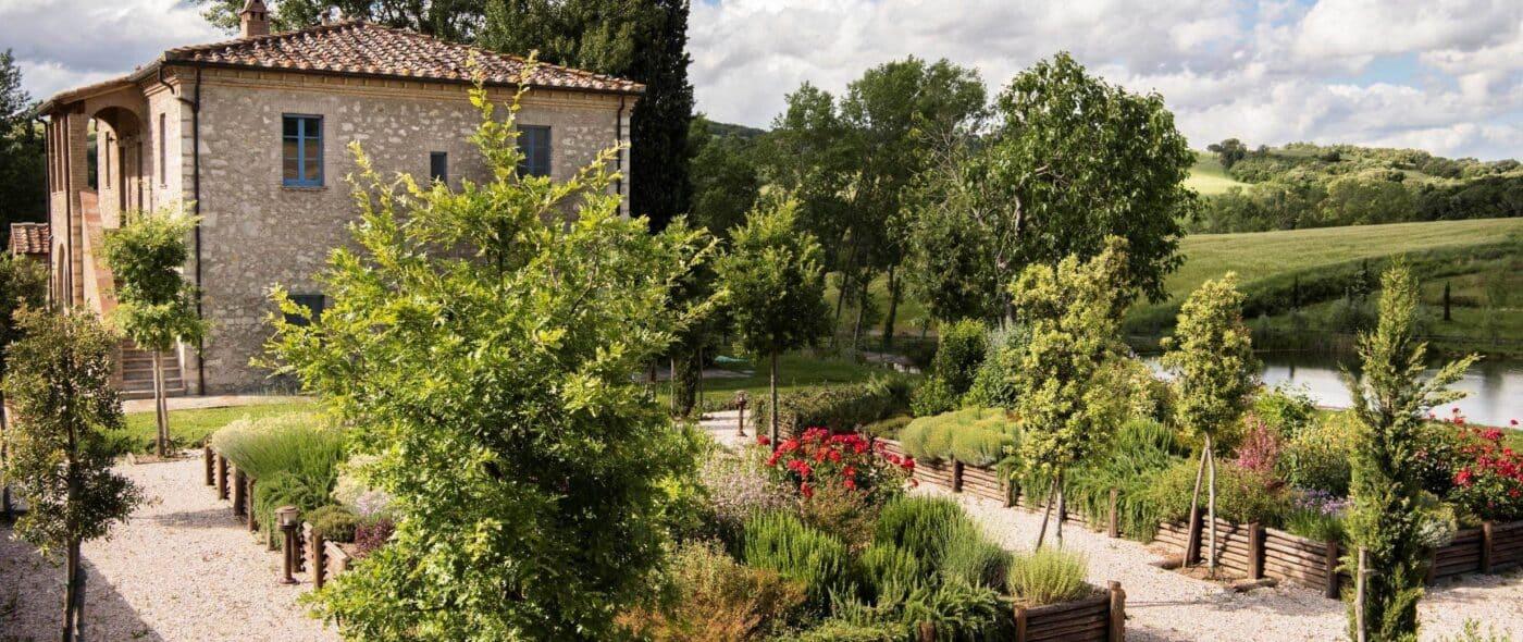 herbal garden of a romantic wedding venue tuscany
