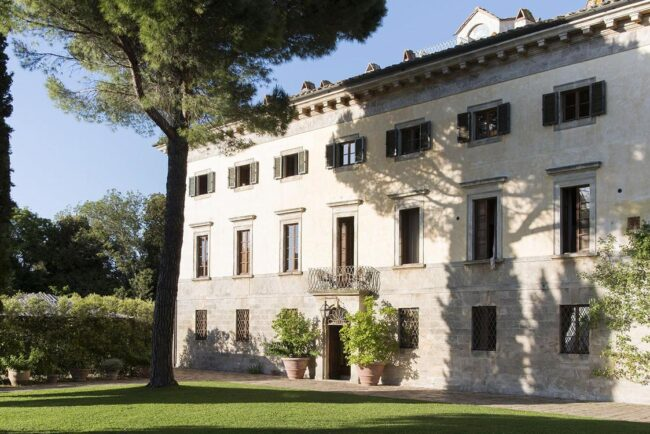 Front of the wedding romantic villa in tuscany with garden