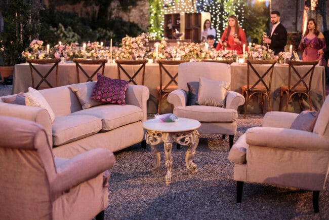 Sofas in outdoor wedding venue