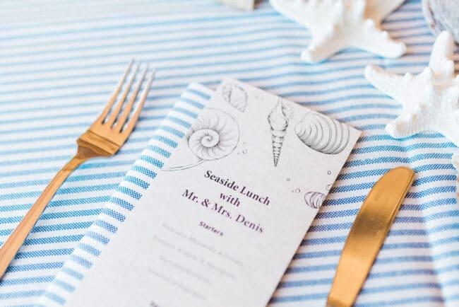 Printed menu and decor with shells