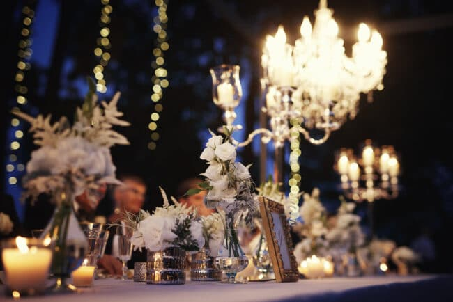 Wedding table decors with candelabras