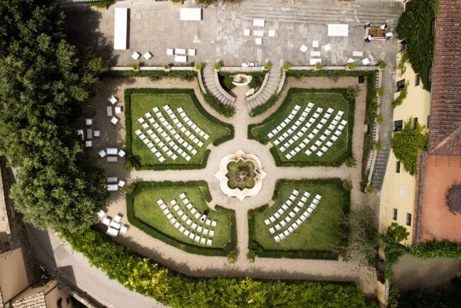 Top view outdoor wedding ceremony in a garden in Tuscany