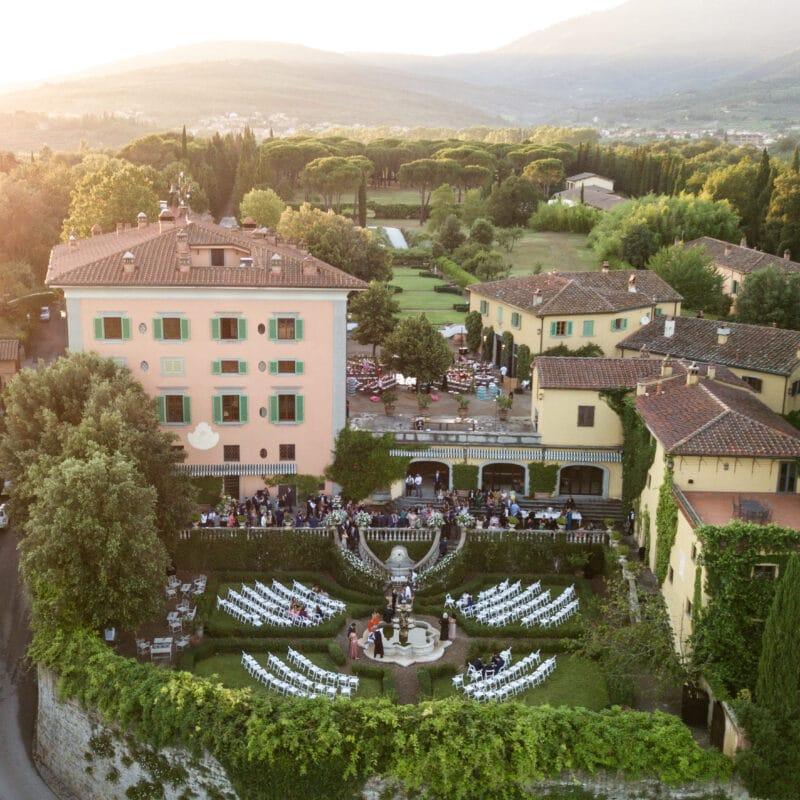 Top view Lebanese wedding villa entrance