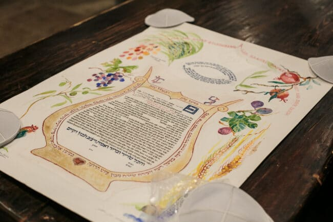 Traditional ketubah wedding