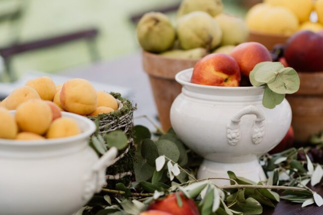 Fruits decor buffet for a wedding brunch in Italy