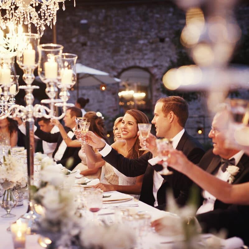 Elegant wedding dinner in Portofino