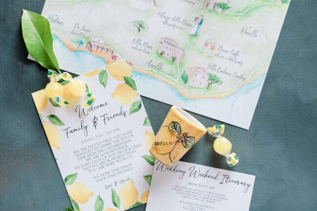 Typical stationery for a wedding in Ravello