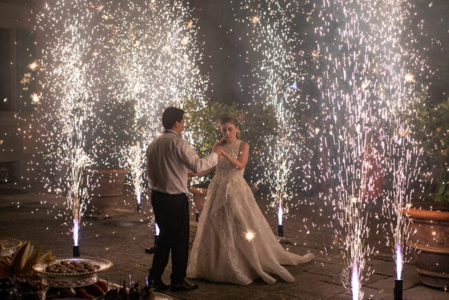 Wedding party fireworks