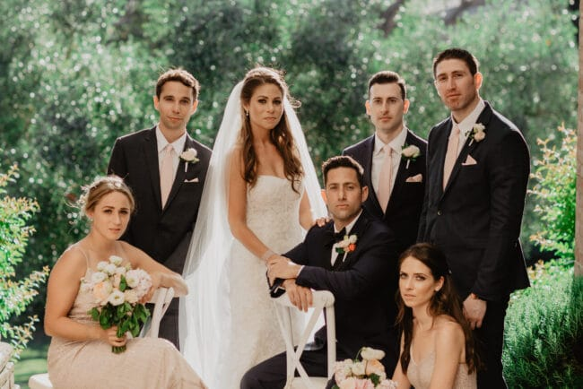 Beautiful wedding portrait with the bridal party