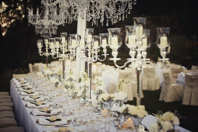 Wedding tables with silver candelabras