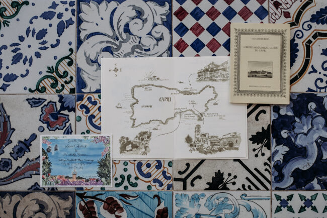 Capri style wedding stationery and invitation