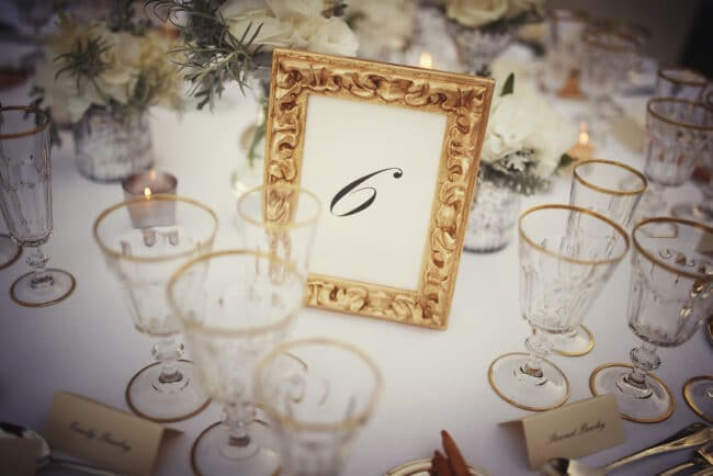 Golden frame with table number