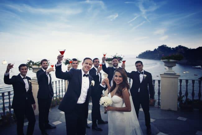 Bridal party photo on a terrace in Portofino