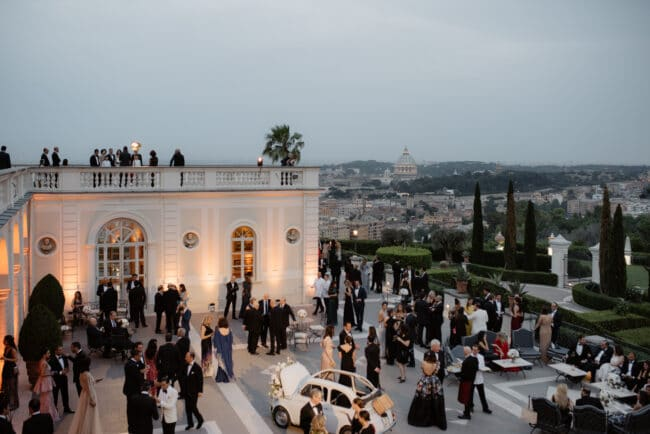 Wedding party in Rome in a venue with view