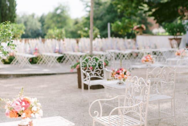 Romantic wedding cocktal reception setting in Italy