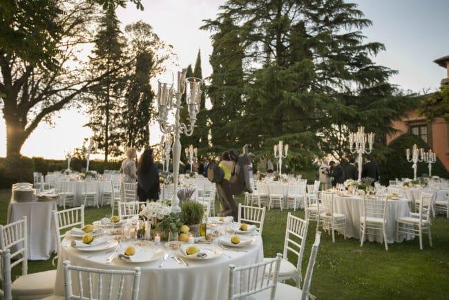 white tables elegant reception villa italy wedding