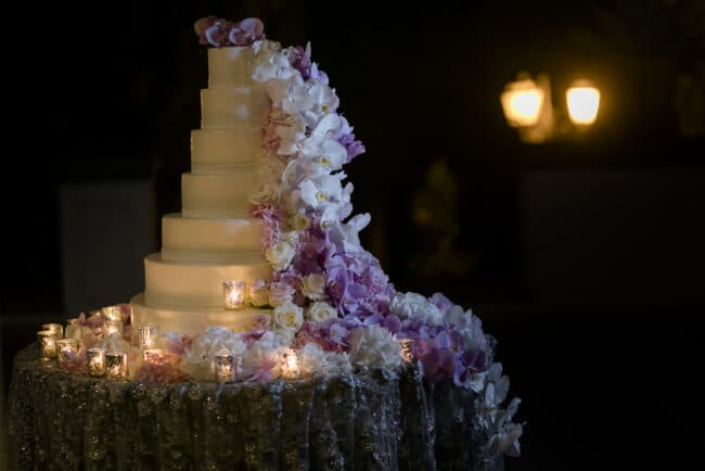 Luxury wedding cake decor with orchids
