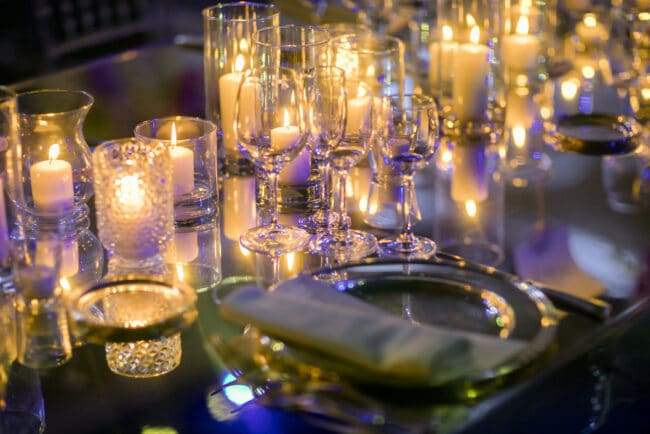 Mirror table setting for a wedding in Rome
