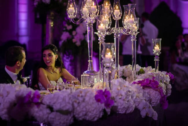 Decor with glass candelabras