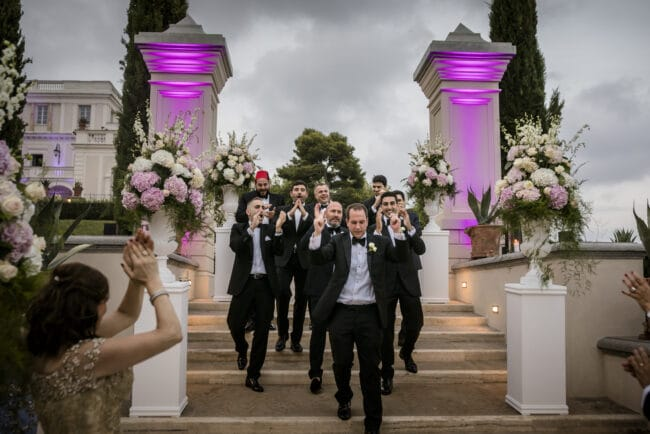 Groom arrival in a lebanese wedding in Rome