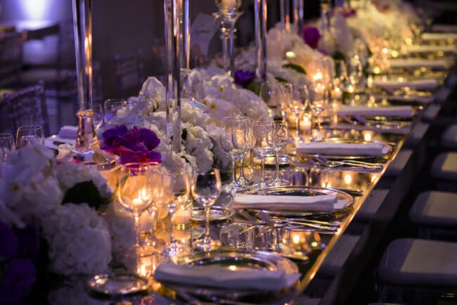 Wedding decor with mirror tables and candles
