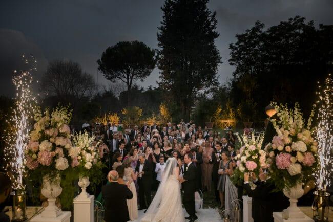 Elegant wedding party in Rome
