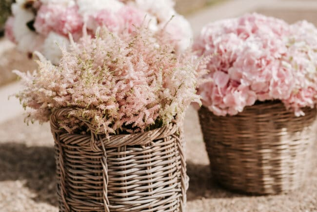 Pale pink flowers for a wedding ceremony in Sicily