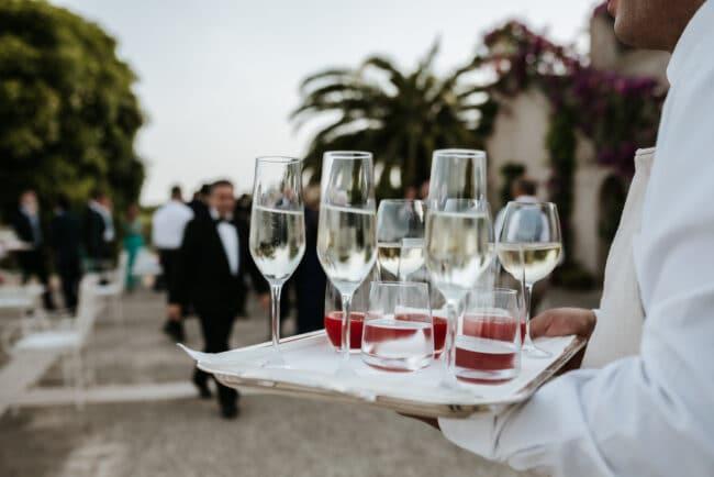 Elegant wedding cocktail reception in Sicily