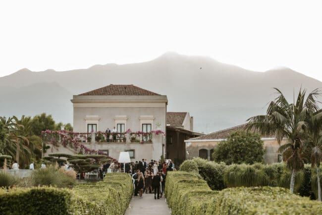 View of the luxury wedding villa in Sicily