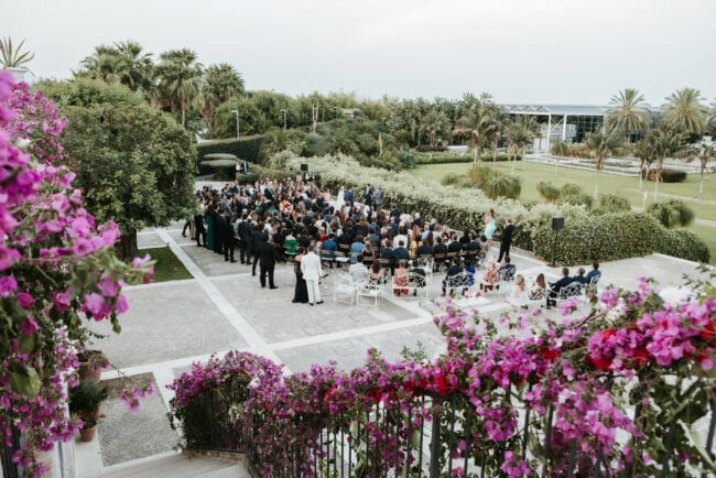 Outdoor ceremony on the terrace of a luxury villa in Sicily