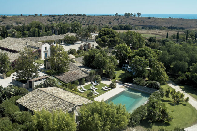 Aerial view of the wedding location in Sicily
