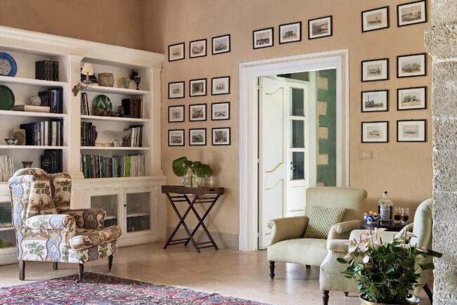 Indoor space with elegant furniture in a wedding villa sicily